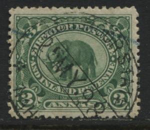 Indian State Sirmoor 1895 3 annals yellow green CDS used