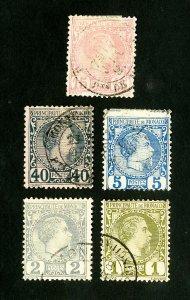 Monaco Stamps # 1-5 VF Used Scott Value $138.00
