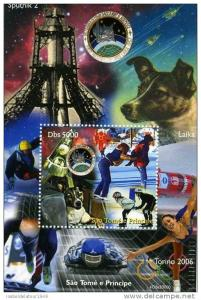 Sao Tome & Principe 2004 Laika Dog in Space-Olympics s/s perforated mnh.vf