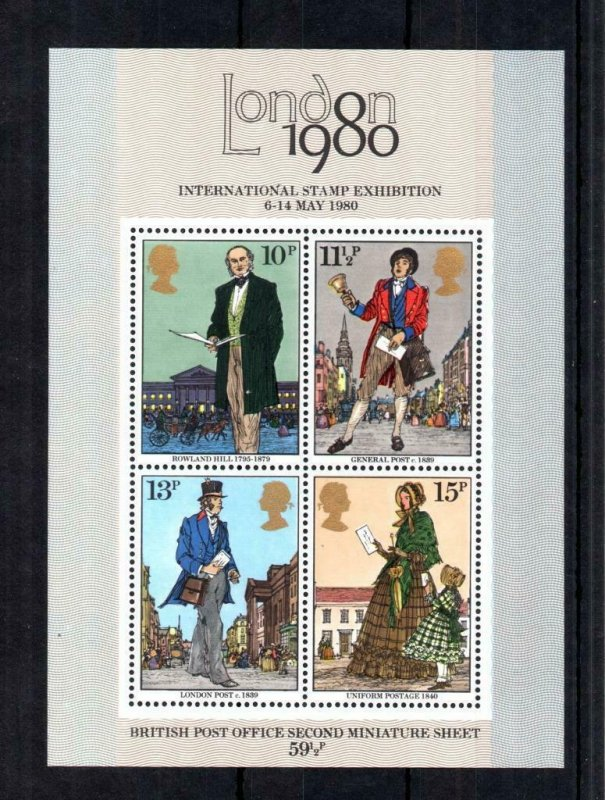 ROWLAND HILL MINIATURE SHEET UNMOUNTED MINT WITH PHOSPHOR OMITTED Cat £25