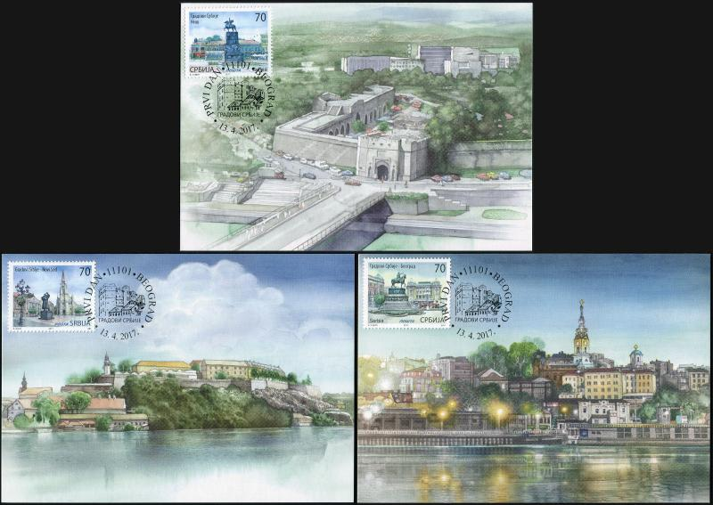 Serbia. 2017. Cities of Serbia (Maxi Cards Set, M)
