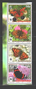 Isle Of Man. 2011. ai 1668,70,72,74 of series. WWF butterfly insect fauna. MNH.