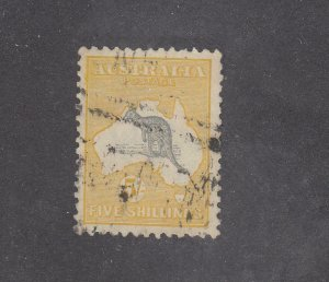 AUSTRALIA # 54 VF-5sh ROO WITH LIGHT CANCEL CAT VALUE $125