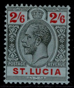 ST. LUCIA GV SG104, 2s 6d black & red/blue, LH MINT. Cat £18.