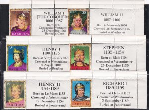 Barbuda # 43-79, English Monarchs with Labels, Unused