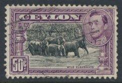 Ceylon  SG 394d   SC# 286e Used perf 11½ x 11 Wild Elephants see detail & scan