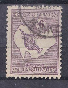 K200) Australia 1916 9d Violet Kangaroo, 3rd wmk Inverted Die II