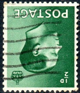 1936 Sg 457Wi ½d green Inverted Watermark with Machine Cancellation Fine Used