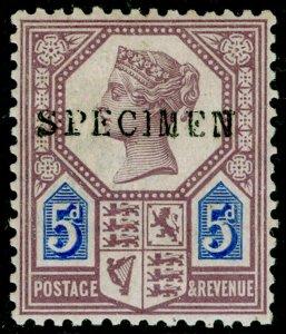 SG207s, 5d dull purple & blue, DIE I, NH MINT. Cat £110+. SPECIMEN.