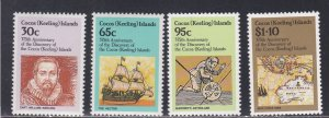 Cocos Islands # 115-118, Discovery 375th Anniversary, NH, 1/2 Cat.