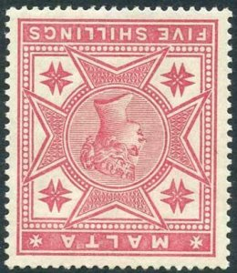 Malta SG30w 1886 5/- Rose Wmk Crown CC INVERTED Fresh Colour M/M Cat 160 pounds