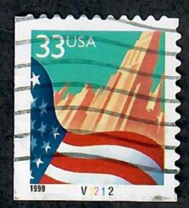 US #3278 Flag over City Used Booklet Single plate #V2212  pnc
