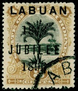 LABUAN SG85, 3c black & ochre, FINE USED. Cat £22.
