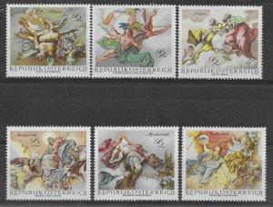 1968   AUSTRIA  -  SG.  1537 / 1542  -  BAROQUE FRESCOES   -   UMM
