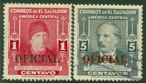 EDW1949SELL : SALVADOR 1948 Scott #O362, 364 Very Fine, Used. Catalog $65.00.