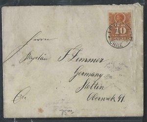 CHILE  (P3108B) 1897   COLUMBUS 10C COVER IOUIQUE TO GERMANY
