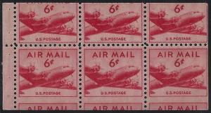 C39a - 6c Bottom Miscut Error / EFO Booklet Pane Skymaster Plane Mint NH