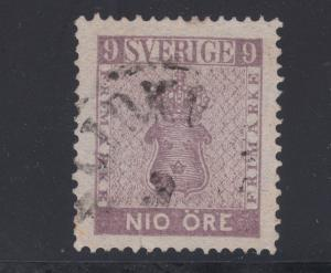 Sweden Sc 7 used. 1858 9ö violet Coat of Arms, minor fault, CV $275