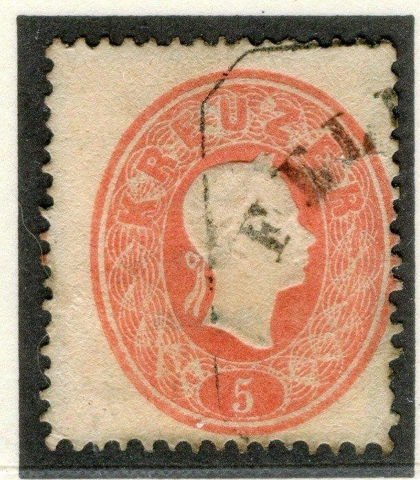 AUSTRIA;  1860 early classic F. Joseph issue used 5k. value, Postmark