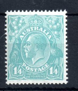 Australia 1926 KGV 1s 4d turquoise mint LHM #104 WS13965