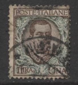Italy - Scott 87 - Victor Emanuel III -1901 - Used - 1l - Brn & Green Stamp