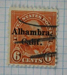 US sc#638 used local precancel Alhambra, Calif. CA