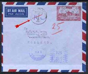 Pakistan 1956 underpaid p/stat env to Holland with Karach...
