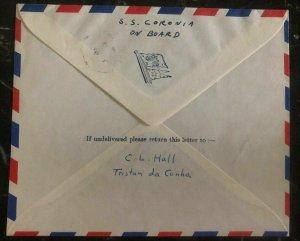 1959 Tristan da Cunha Cover to Detroit MI USA On Board SS Coronia Stamp SG 14 24