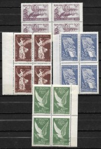 Doyle's_Stamps: 1947 WWII Romanian Peace Issues Set of Blocks #642** to #645**