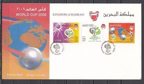 Bahrain, Scott cat. 630-632. World Cup Soccer issue. First day cover.