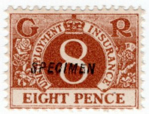 (I.B) George V Revenue : Unemployment Insurance 8d (specimen)