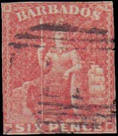 Barbados #8, Incomplete Set, 1855-1858, Used