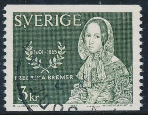 Sweden Scott 687 (Fa 569), 3Kr Fredrika Bremer, F-VF Used