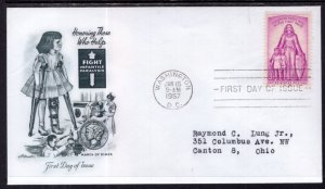 US 1087 Polio Artmaster Typed FDC