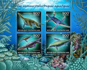 C A R - 2019 - Prehistoric Water Animals - Perf 4v Sheet - MNH
