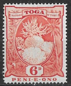 Tonga 6d red Coral Formations issue of 1897, Scott 46, MH