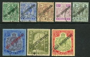 MALTA-1922 Self Government.  A fine used set to 5/- Sg 106-113