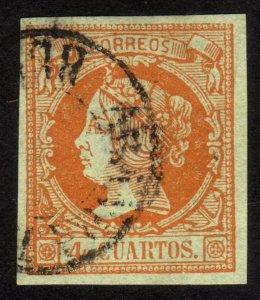 1860 Spain 4c, Used, Sc 50