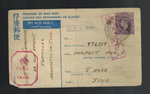 1944 England Postcard Cover Prisoner of War POW Japan Java AC2 Fred Philpott