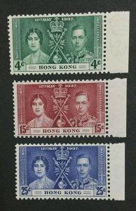 MOMEN: HONG KONG SG #137-139 1937 MINT OG NH LOT #203628-9666