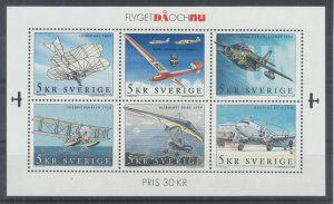 Sweden Sc 2421 MNH. 2001 Aviation Souvenir Sheet of 6, fresh, bright, VF.