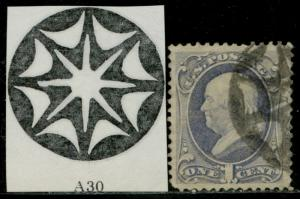 #156 VF-XF USED RARE NY FOREIGN MAIL CANCEL; TINY TEAR AT LEFT BQ3485