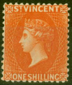 St Vincent 1883 1s Orange-Vermilion SG45 Fine & Fresh Mtd Mint