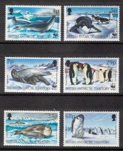 BRITISH ANTARCTIC 1992 Seals & Penguins/ WWF; Scott 192-97, SG 208-13; MNH