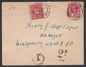 NIGERIA 1927 cover Lagos to USA - Nigerian T tax mark and US 2c Due.........H904