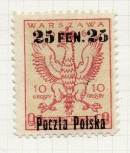 Poland Warsaw 1918 Early Issue Fine Mint Hinged 25f. Optd Surcharged NW-14452