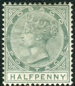 TOBAGO-1885-96 ½d Dull Green SLASH FLAW.  A mounted mint example Sg 20a