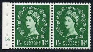 SB28 1 1/2d Green Wmk Edward Booklet Pane of Two Cyl 14 no dot U/M Superb Perfs