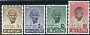 INDIA-1948 Ghandi.  A superb unmounted mint set of 4 Sg 305-8