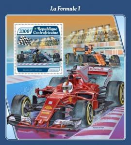 Central Africa - 2017 Formula 1 Cars - Stamp Souvenir Sheet - CA17510b